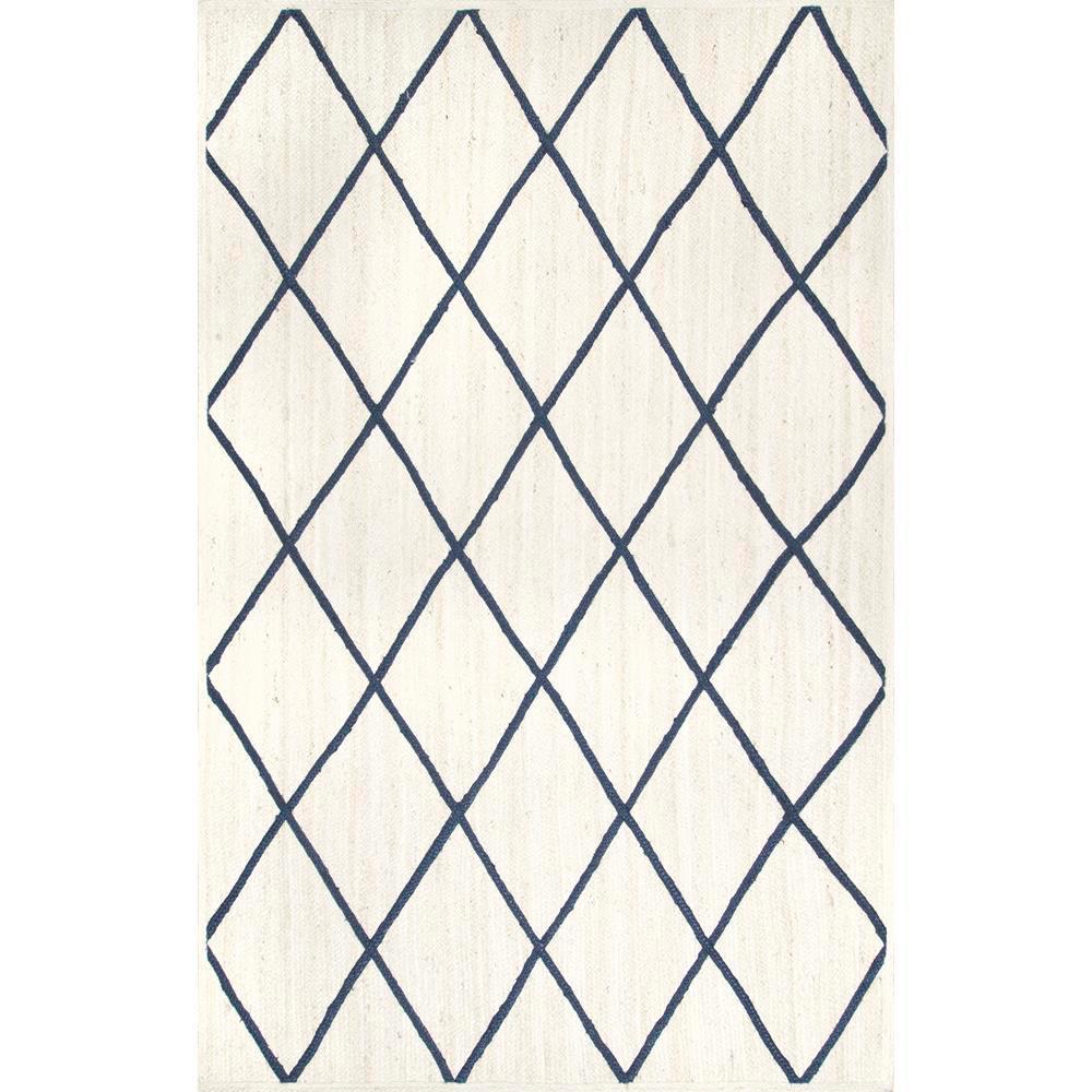 Caleb Braided Trellis Jute white 5 ft. x 8 ft.  Area Rug