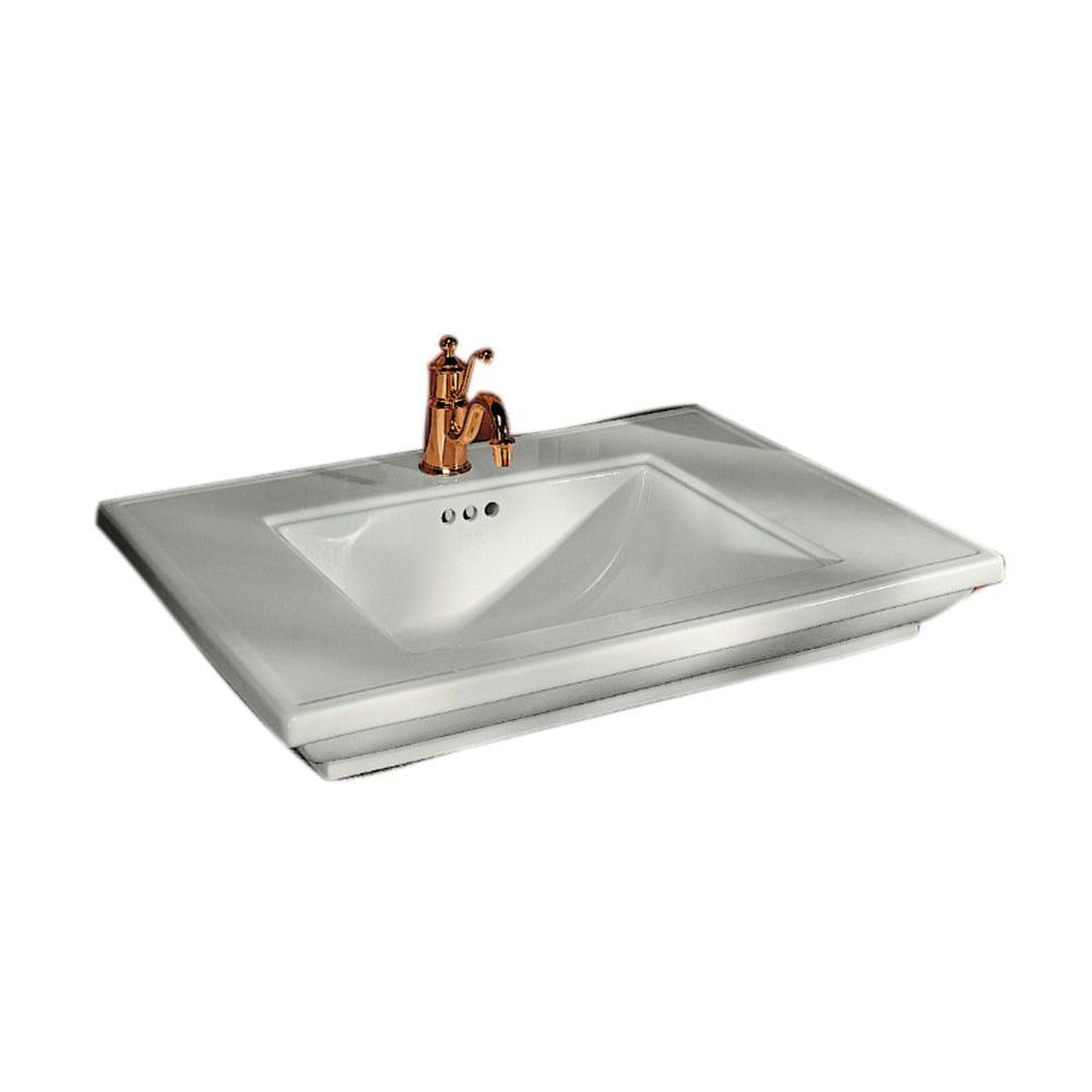 Ceramic Countertop Sink Basin In White With Overflow Drain