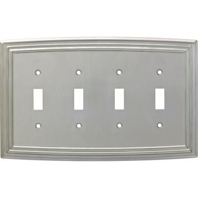 Nickel 4-Gang 4-Toggle Wall Plate (1-Pack)