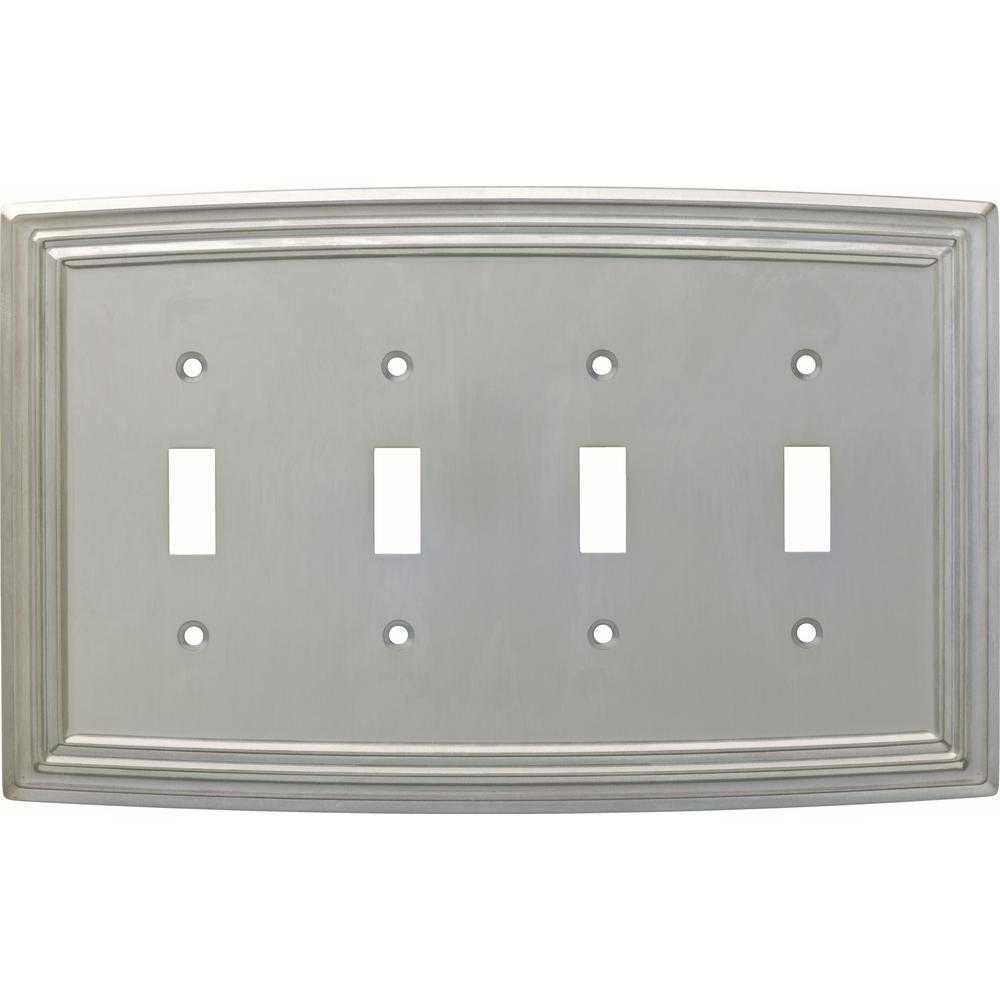Emery Decorative Quadruple Light Switch Cover, Satin Nickel