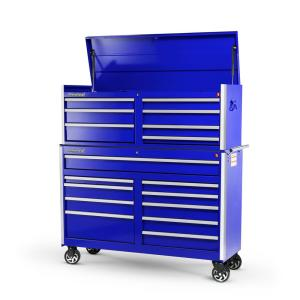 International Tech Series 54 inch 17-Drawer Tool Chest and Cabinet Combo Blue by International