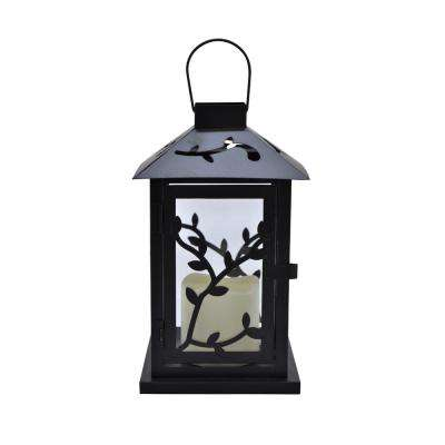6 in. x 6 in. Black Metal Lantern with LED