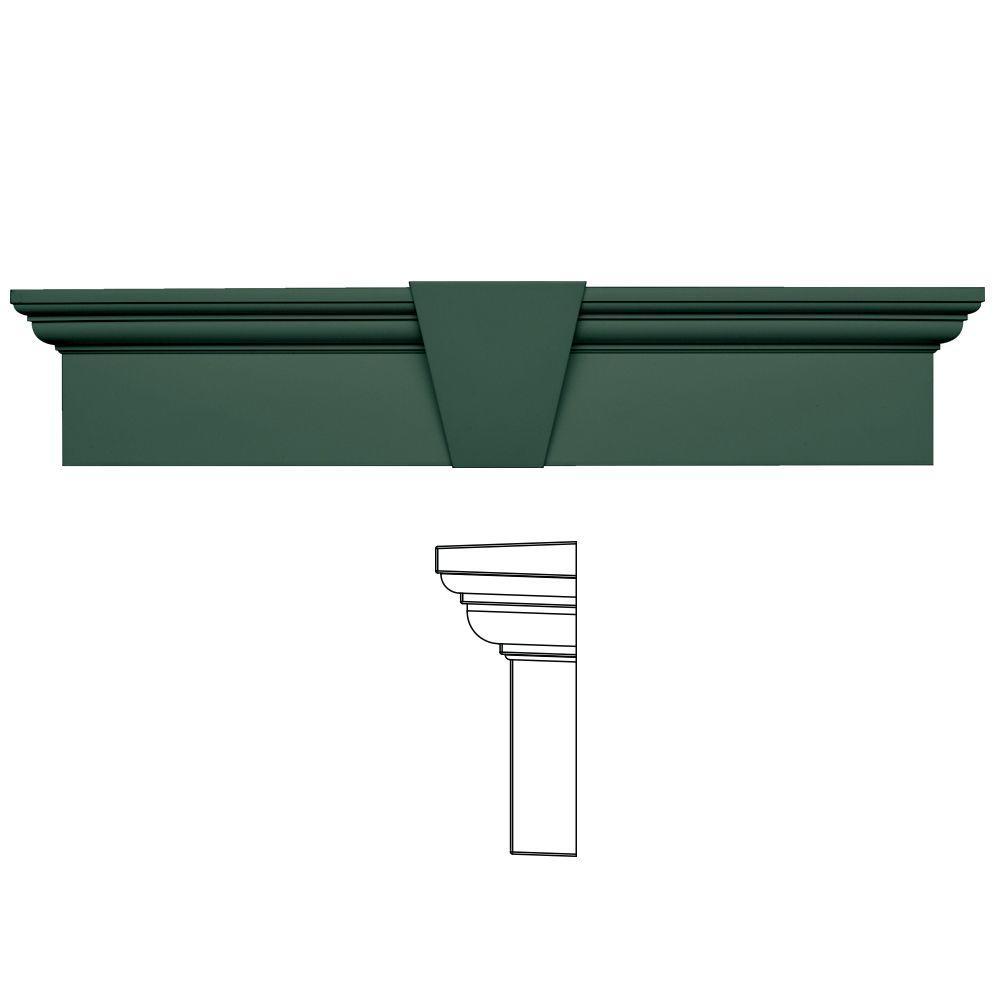 Builders Edge 9 in. x 43-5/8 in. Flat Panel Window Header with Keystone in 028 Forest Green
