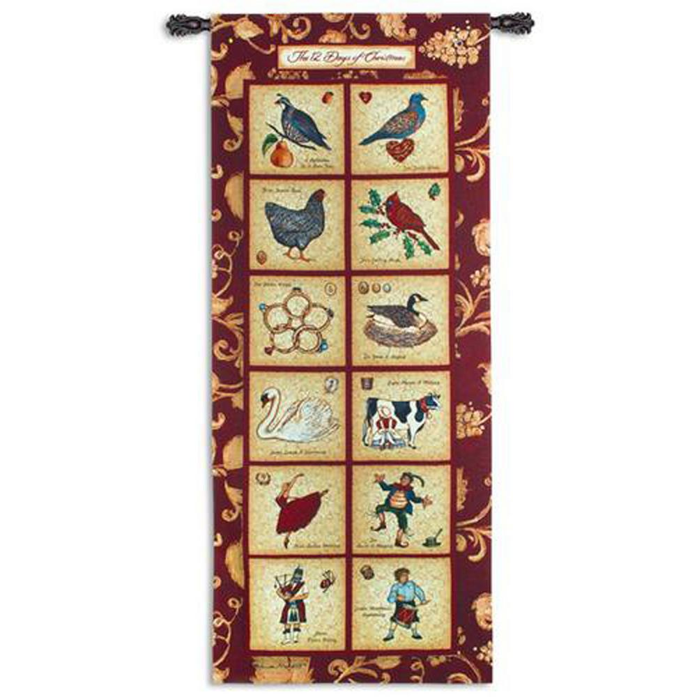 73 in. x 32 in. Twelve Days of Christmas Wall Tapestry