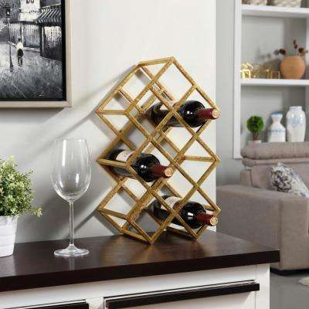 Sparkling Gold Iron 9-Bottle Wine Rack