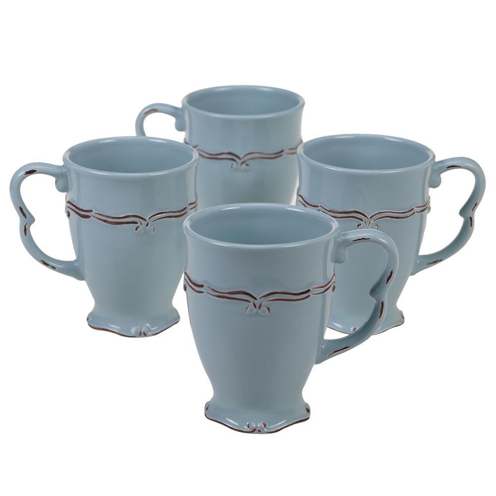 Vintage 20 oz. Blue Mug (Set of 4)