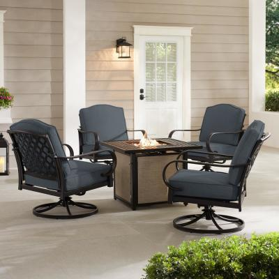Laurel Oaks 5-Piece Brown Steel Outdoor Patio Fire Pit Seating Set with CushionGuard Steel Blue Cushions