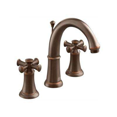 Portsmouth Single Hole 2-Handle Mid-Arc Bathroom Faucet with Speed Connect Drain and Cross Handles in Oil Rubbed Bronze