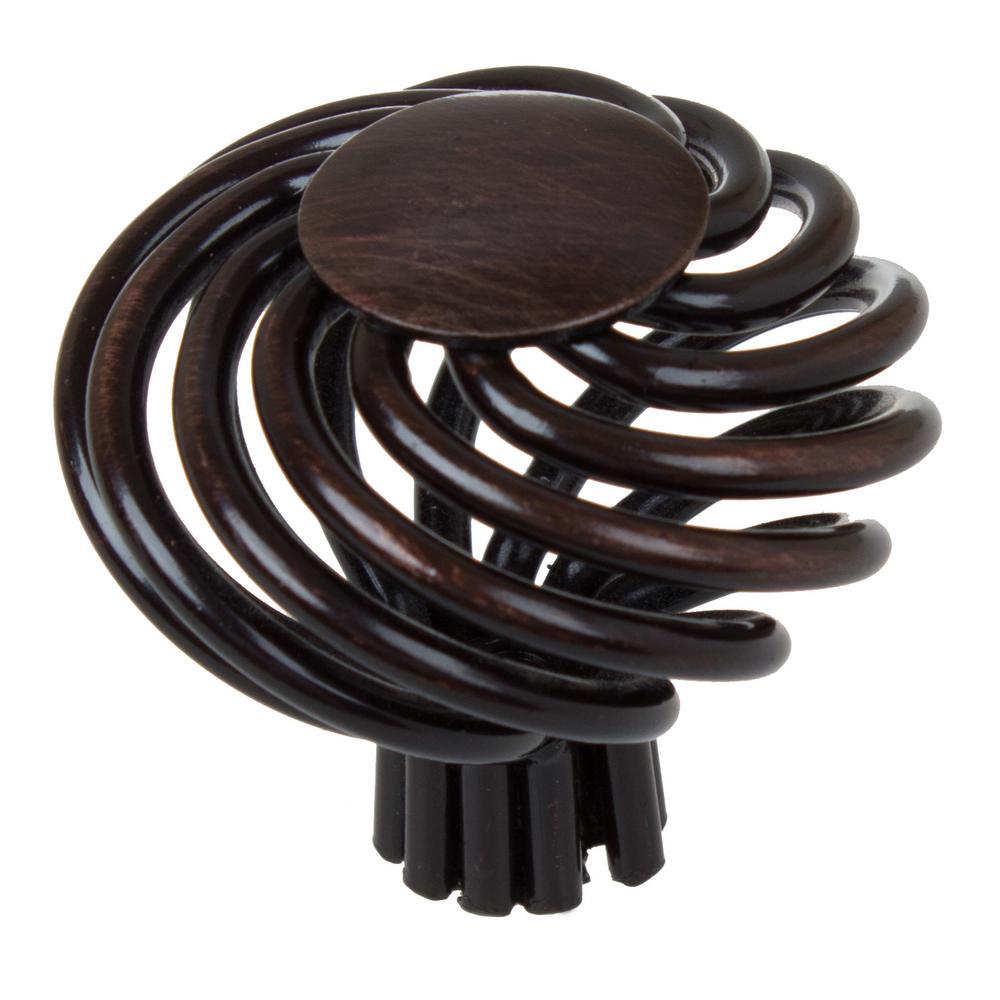 GlideRite 1-1/2 inch Dia Oil Rubbed Bronze Round Birdcage Cabinet Knob (10-Pack) by GlideRite