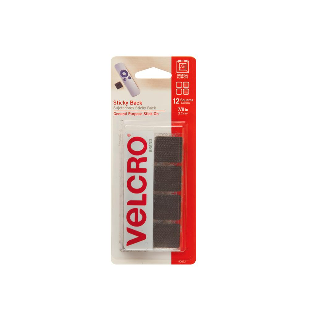 VELCRO Brand 7/8 in. Sticky Back Squares (12-Pack)