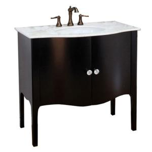 Bellaterra Home Pallazo III 37 inch Single Vanity In Black with Marble Vanity Top in White by Bellaterra Home