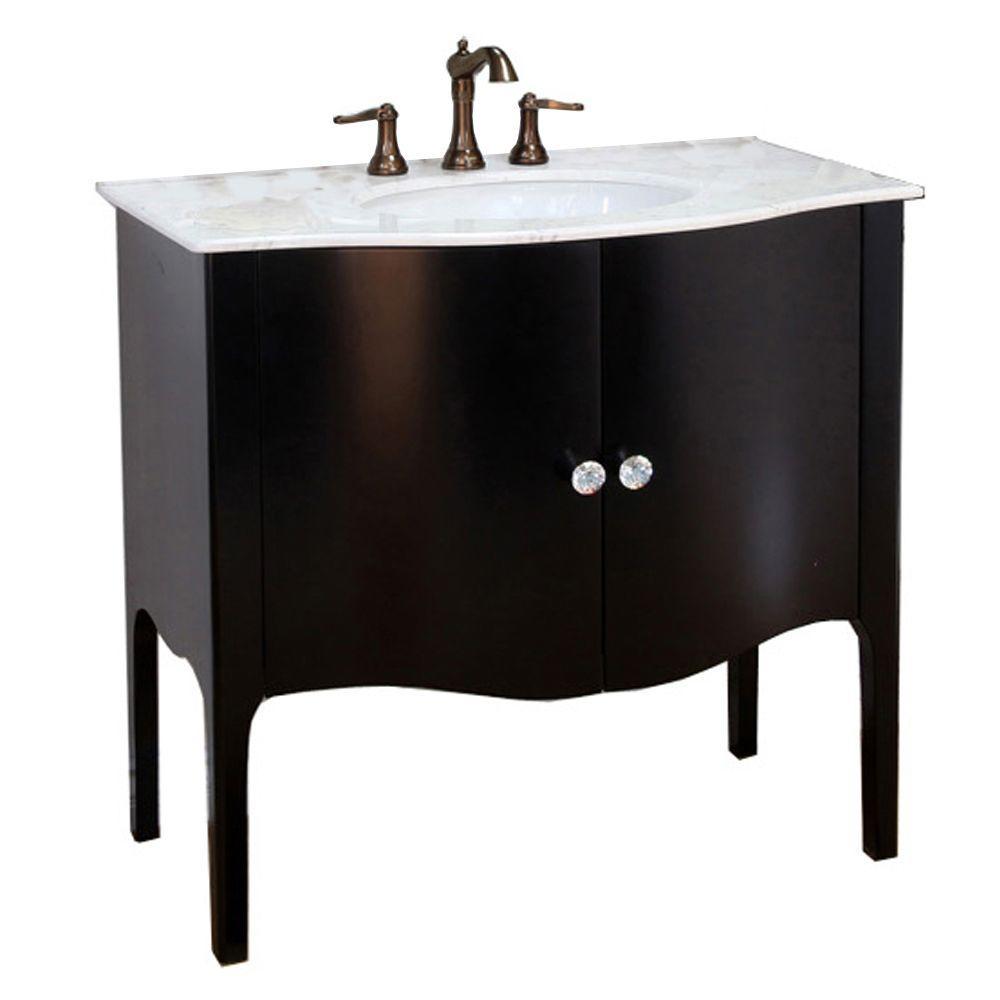Pallazo III 37 in. Single Vanity In Black with Marble Vanity Top in White