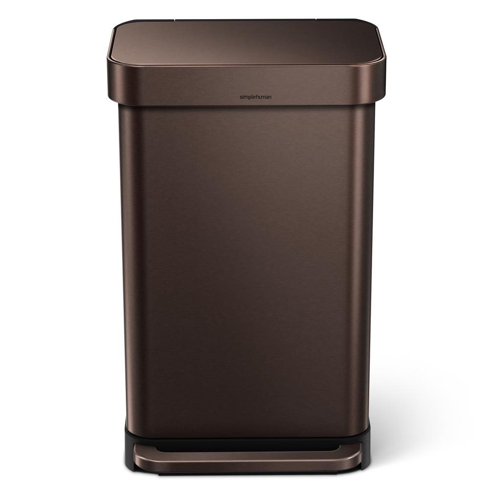 simplehuman 45-Liter Dark Bronze Stainless Steel Rectangular Liner Rim  Step-On Trash Can