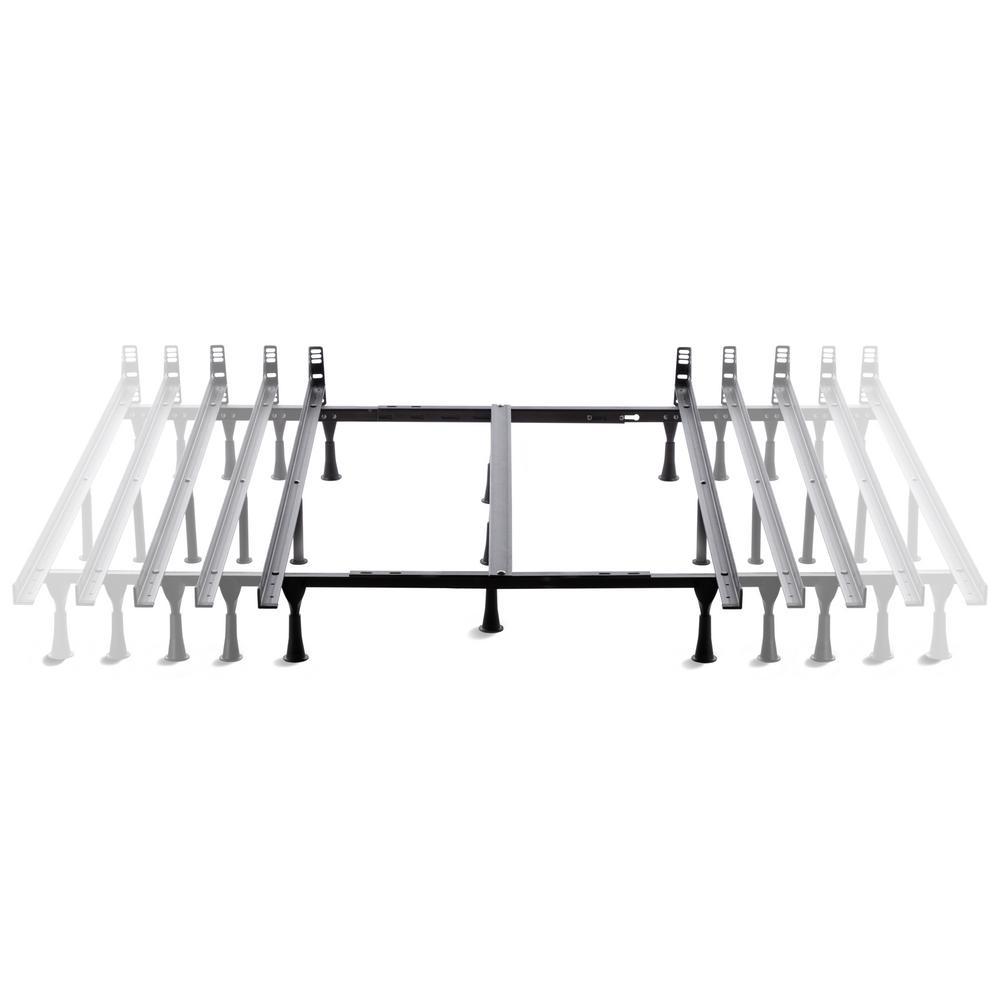 UniversalAdjustable Metal Bed Frame with Center Support-Glides