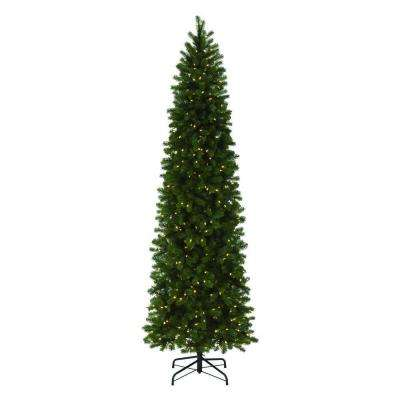 9 ft. Indoor Pre-Lit LED Downswept Douglas Fir Slim Artificial Christmas Tree