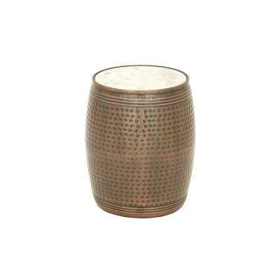 Brown Dimpled Drum Side Table with White Marble Top
