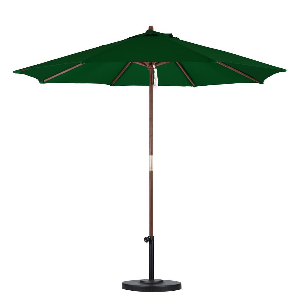 Hampton Bay 9 Ft. Wood Patio Umbrella In Brown-9939