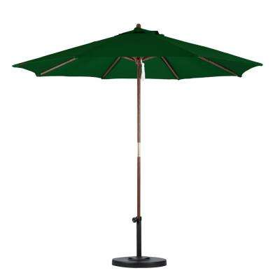 9 Ft. Wood Pulley Open Patio Umbrella In Hunter Green Polyester