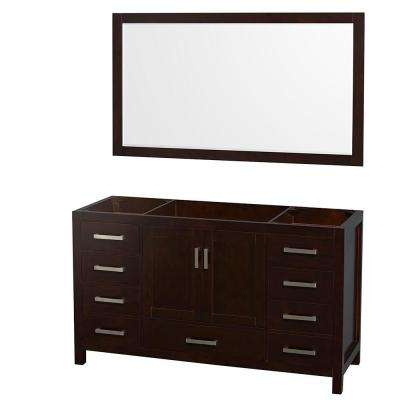 Sheffield 59 in. Vanity Cabinet with 58 in. Mirror in Espresso