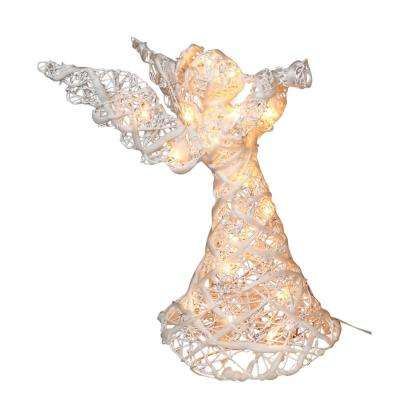 21.7 in. White Rattan Angel Christmas Tree Topper with 20 Clear Lights