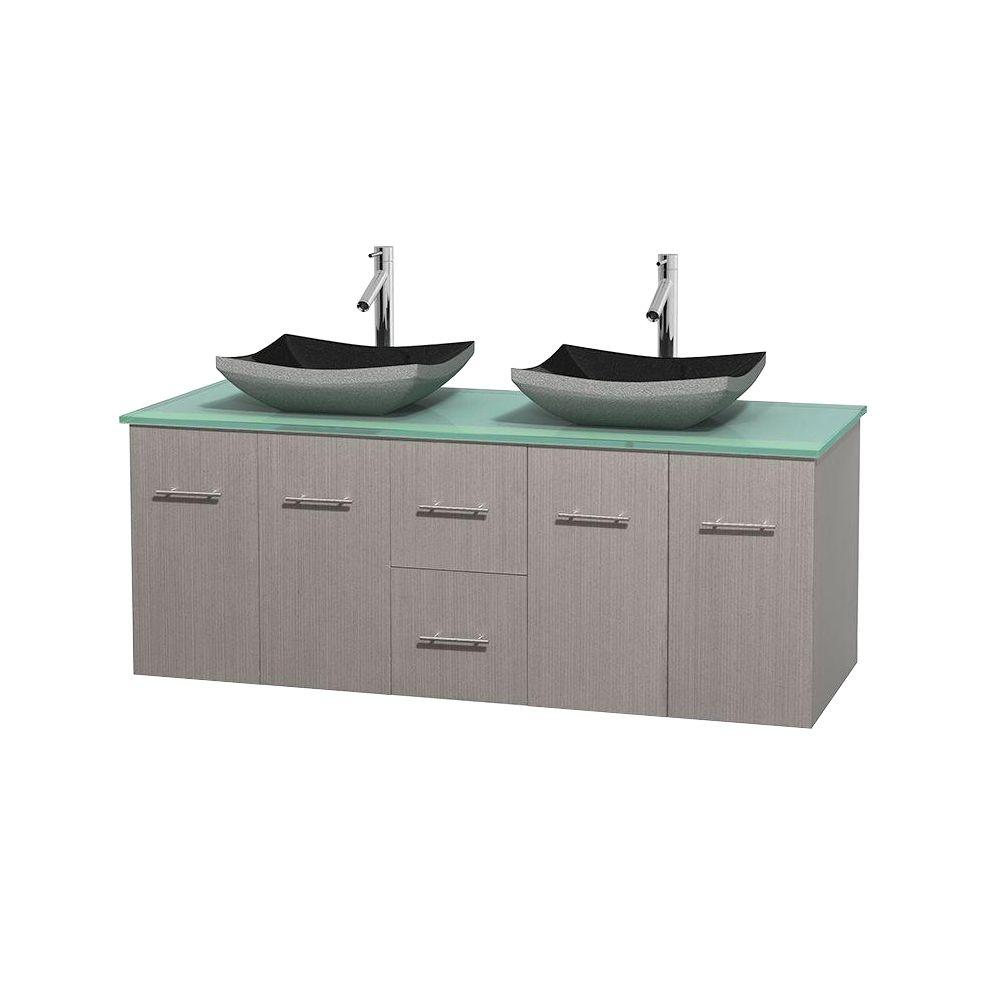 Wyndham Collection Centra 60 in. Double Vanity in Gray Oak with Glass Vanity Top in Green and Black Granite Sinks