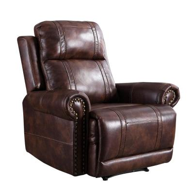Red Brown Leather Recliner Chair with Overstuffed Arms and Back, Classic and Traditional Design