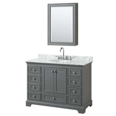 Deborah 48 in. Single Vanity in Dark Gray with Marble Vanity Top in White Carrara with White Basin and Medicine Cabinet