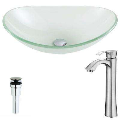 Forza Series Deco-Glass Vessel Sink in Lustrous Frosted with Harmony Faucet in Brushed Nickel