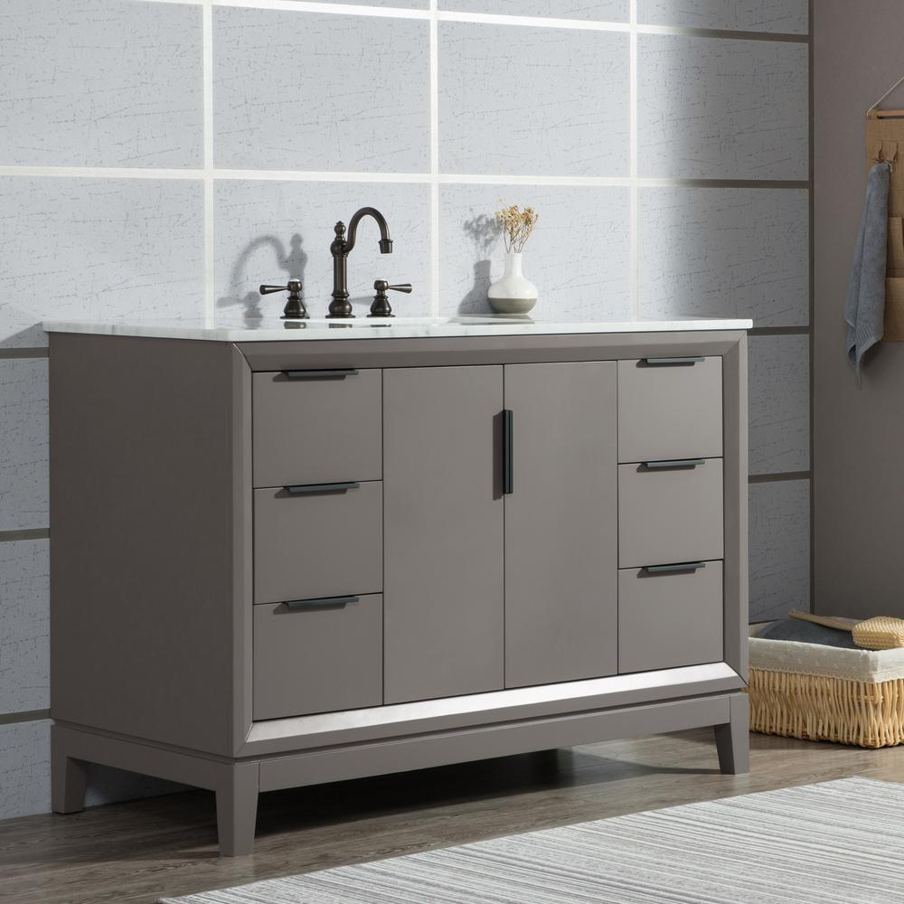Water Creation Elizabeth 48 in. Cashmere Grey With Carrara White Marble Vanity Top With Ceramics White Basins and Mirror and Faucet
