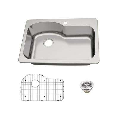 Dual Mount 18-Gauge Stainless Steel 33 in. 1-Hole Euro Style Single Bowl Kitchen Sink with Grid and Drain Assembly