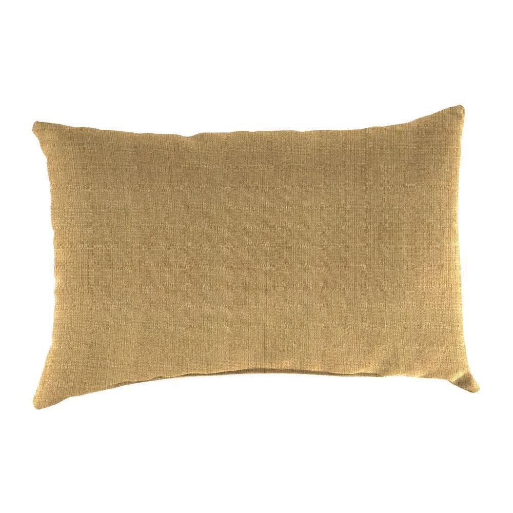 Sunbrella 19 in. x 12 in. Linen Straw Lumbar Outdoor Throw Pillow
