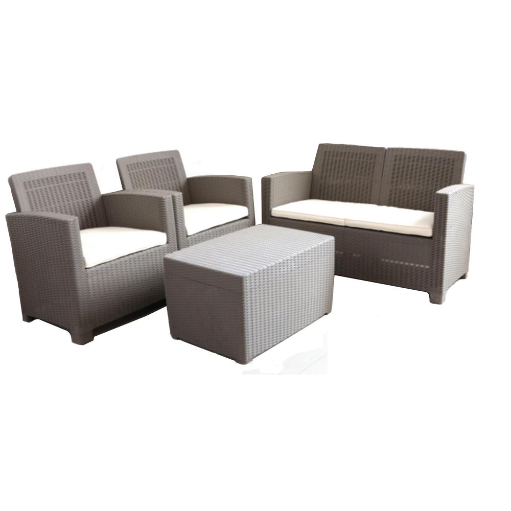 DIRECT WICKER Sukke Grey 4-Pieces Plastic Patio Sofa Set with Beige Seat  Cushion and Coffee Table