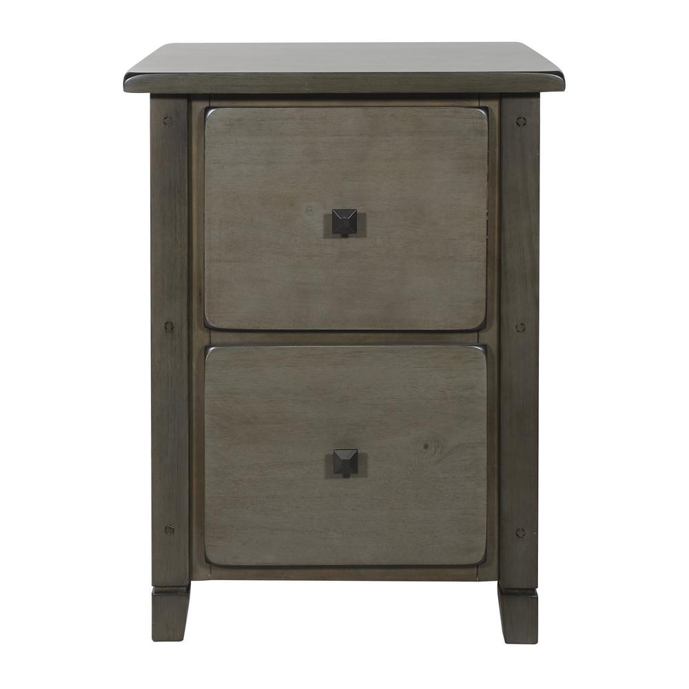 OSP Home Furnishings Hillsboro File Grey Wash Cabinet, Gray Wash You cant help but love the rustic farmhouse design of the Hillsboro Collection from OSP Home Furnishings. This attractive collection features X-side panels that add both charm and support. A warm, distressed antique gray finish highlights these solid-wood furnishings while complementing your home dcor. Color: Gray Wash.