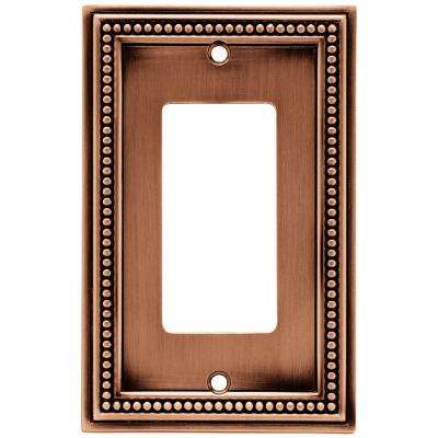 Beaded Decorative Single Rocker Switch Plate, Aged Brushed Copper