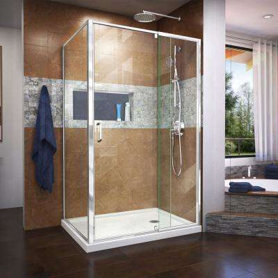 Flex 48 in. x 74.75 in. Semi-Frameless Pivot Shower Enclosure in Chrome with Right Drain White Acrylic Base Kit