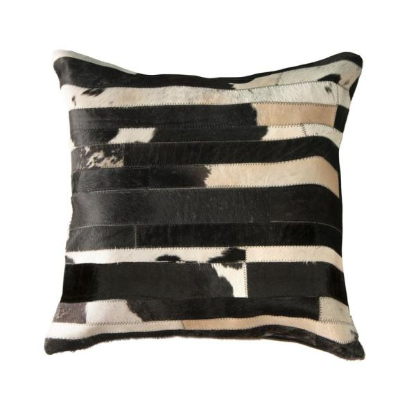 Torino Classic Large Madrid Cowhide Black & White Geometric 22 in. x 22 in. Throw Pillow