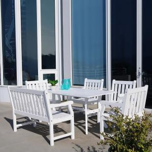 Vifah Bradley Wood 6-Piece Outdoor Dining Set with 4 ft. Bench by Vifah