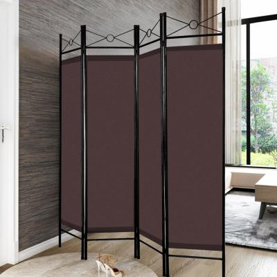71 in. Brown 4-Panel Room Divider Privacy Screen with Metal Frame