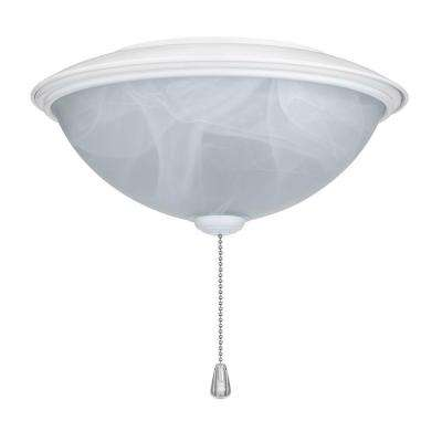 Alabaster Contemporary Bowl Glass Ceiling Fan Light Kit with White Trim