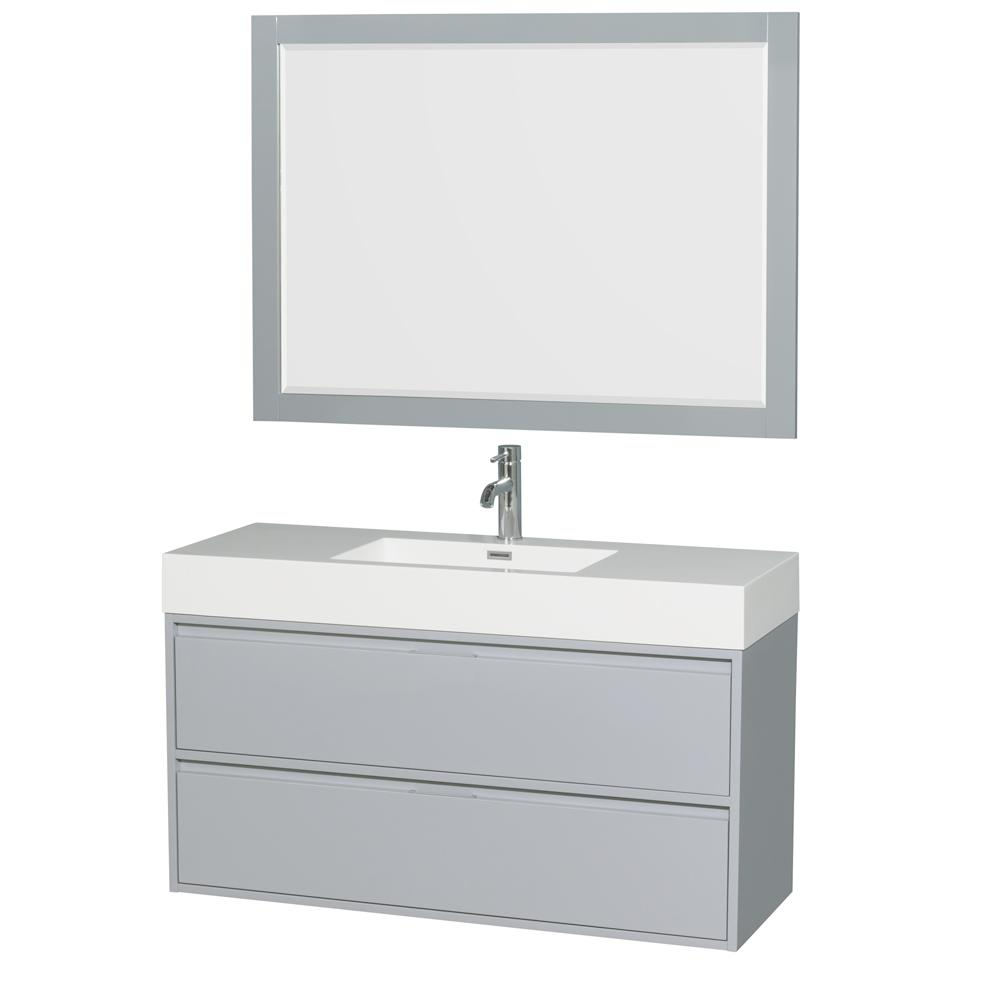 Wyndham Collection Daniella 47.3 in. W x 18 in. D Vanity in Dove Gray with Acrylic Vanity Top in White with White Basin and 46 in. Mirror