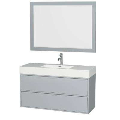 Daniella 47.3 in. W x 18 in. D Vanity in Dove Gray with Acrylic Vanity Top in White with White Basin and 46 in. Mirror