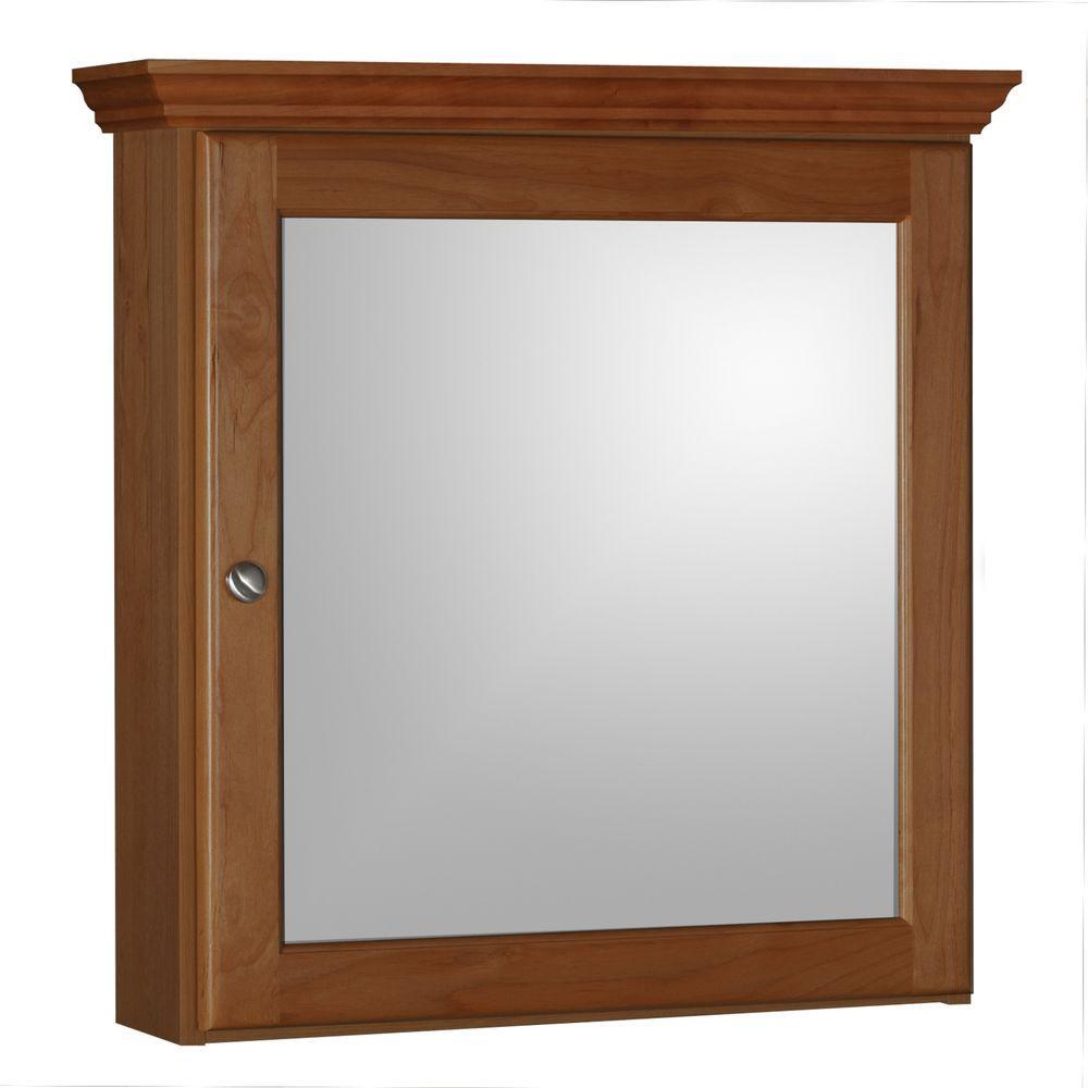 Ultraline 24 in. W x 27 in. H x 6-1/2 in. D Framed Surface-Mount Bathroom Medicine Cabinet in Medium Alder