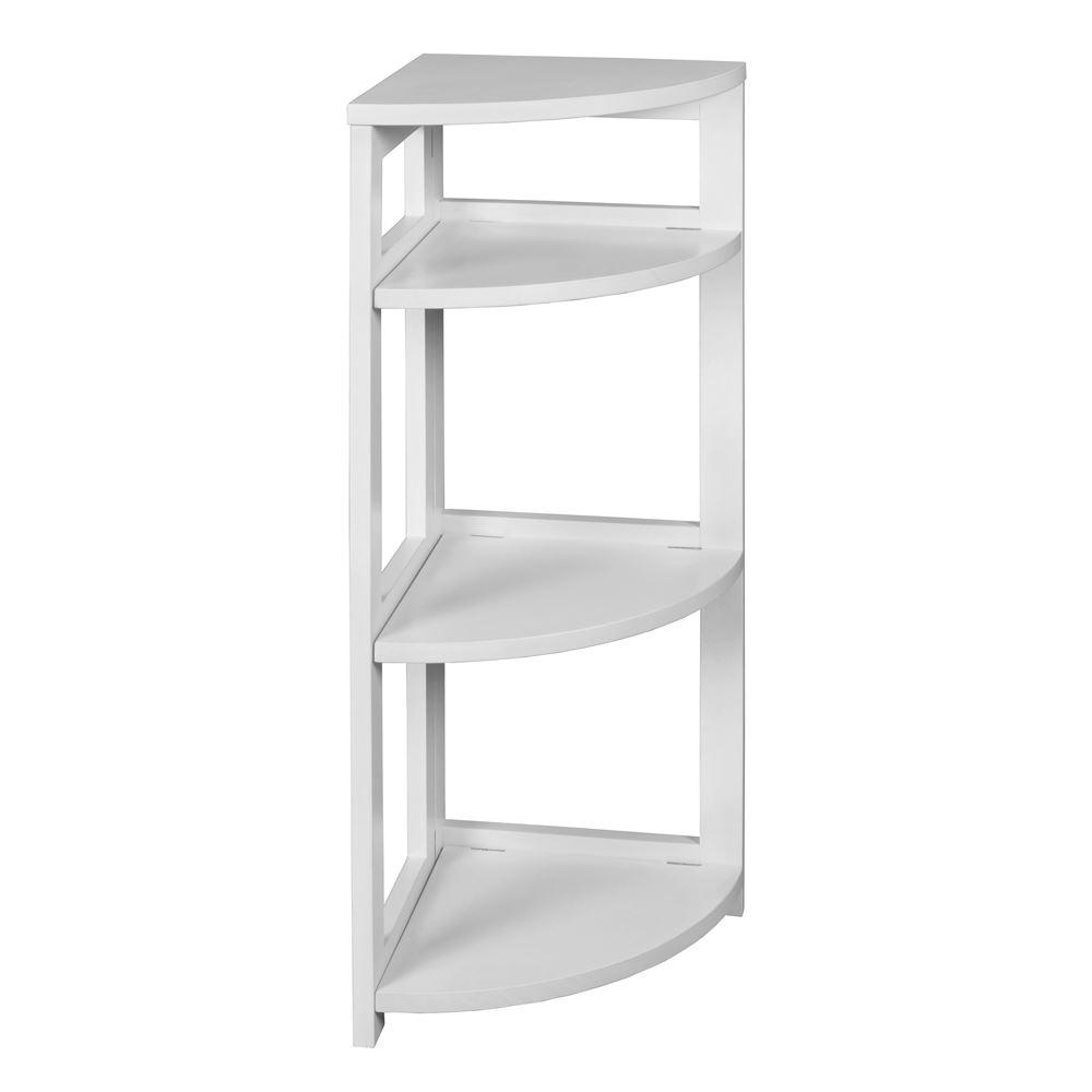 34 in. White Wood 3-shelf Foldable Corner Bookcase