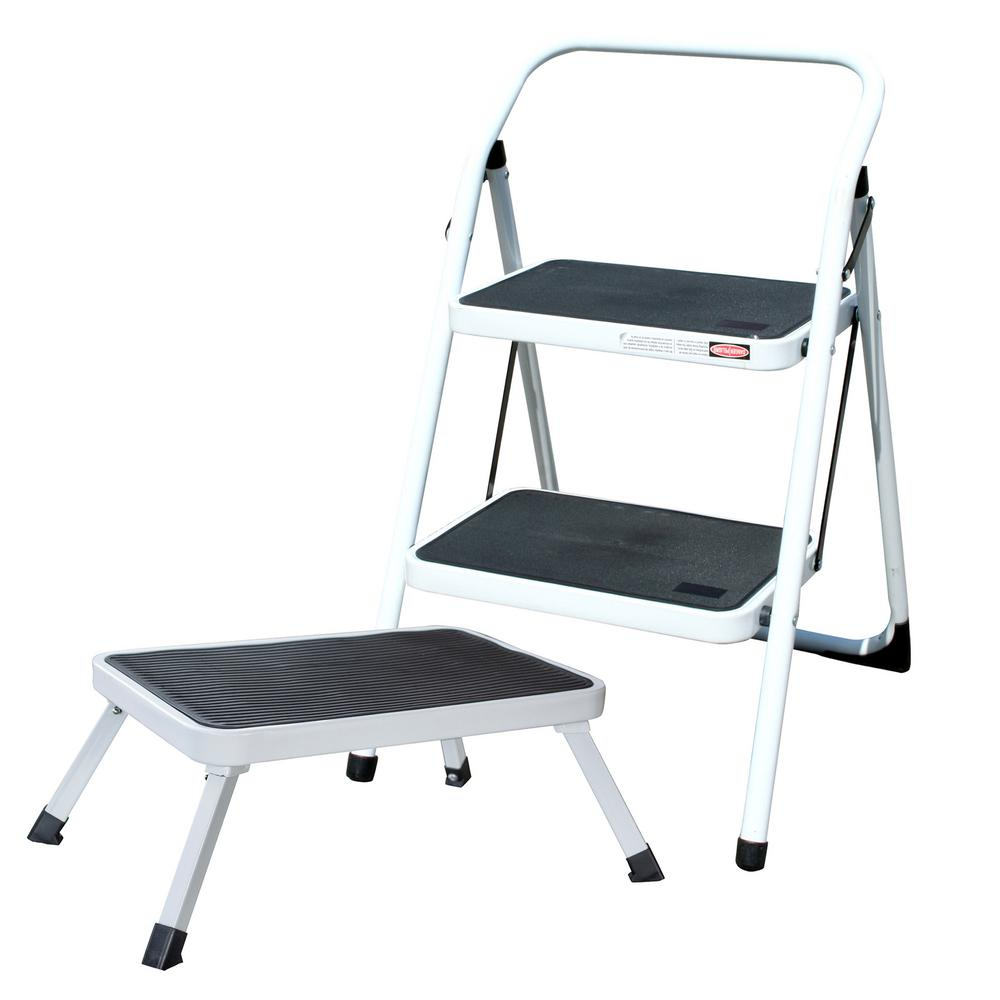 Amerihome 2 Step Metal Folding Mini Step Ladder With 1