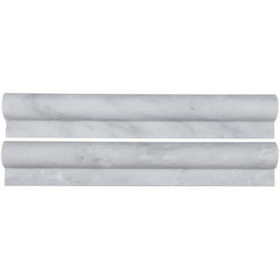 Greecian White Rail Molding 2 in. x 12 in. Polished Marble Wall Tile (10 Ln. ft./Case)