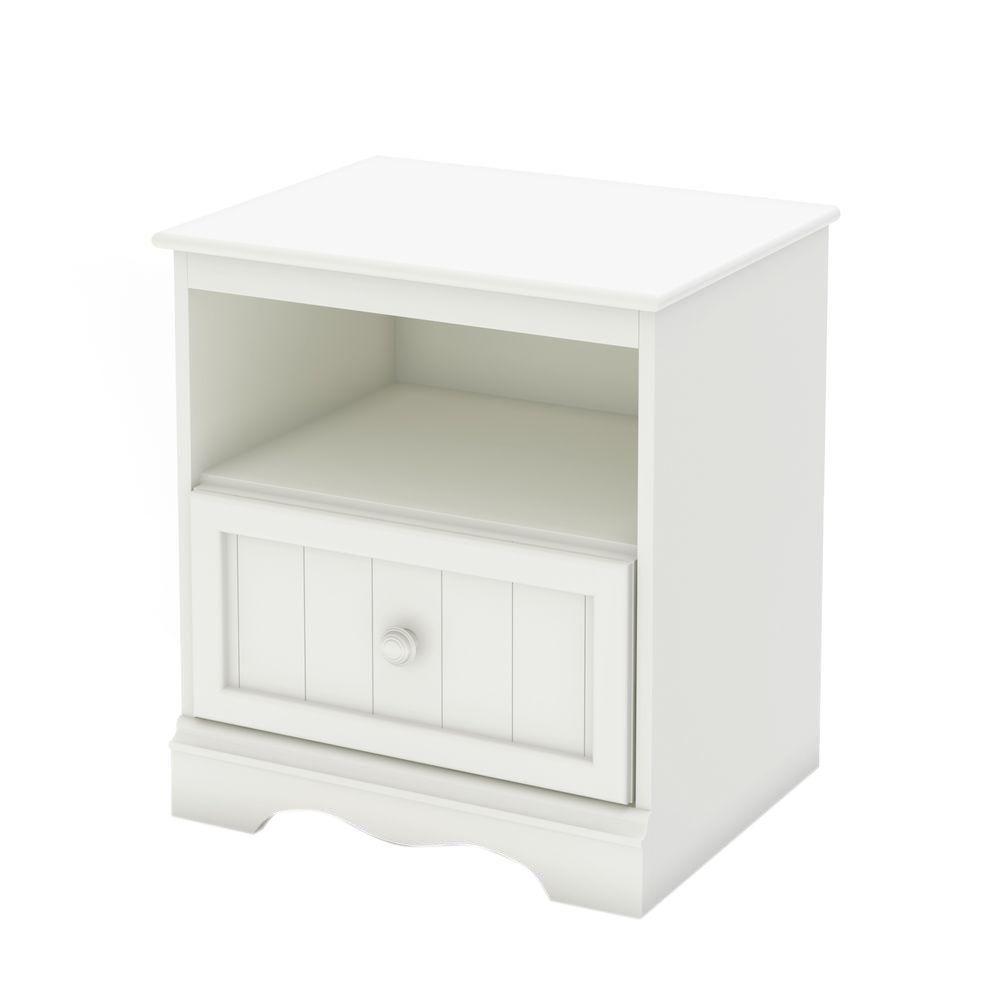 Savannah 1-Drawer Pure White Nightstand
