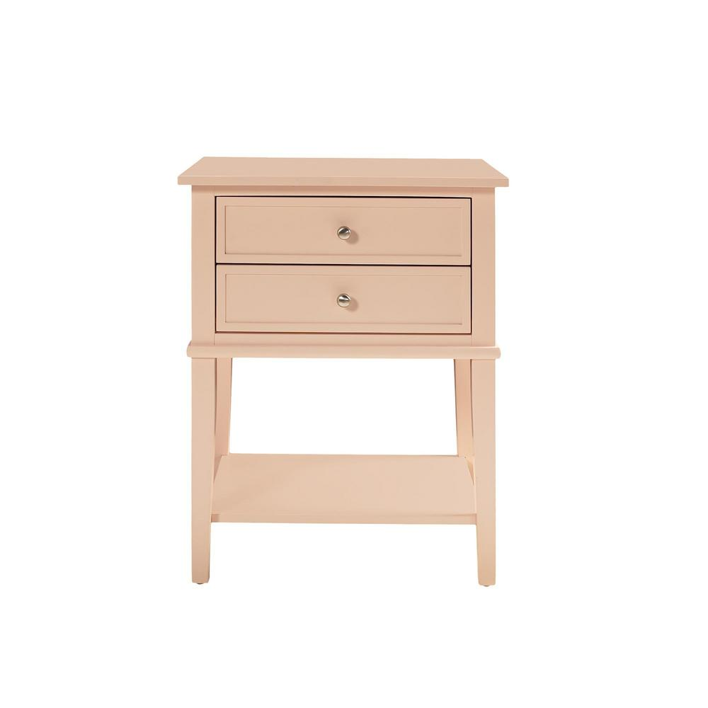 Queensbury Pink Accent Table with 2-Drawers