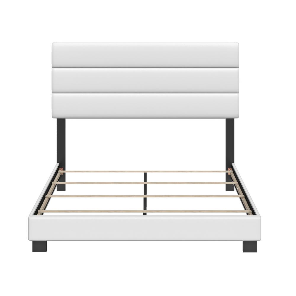 Vivian Faux Leather White King Upholstered Platform Bed Frame