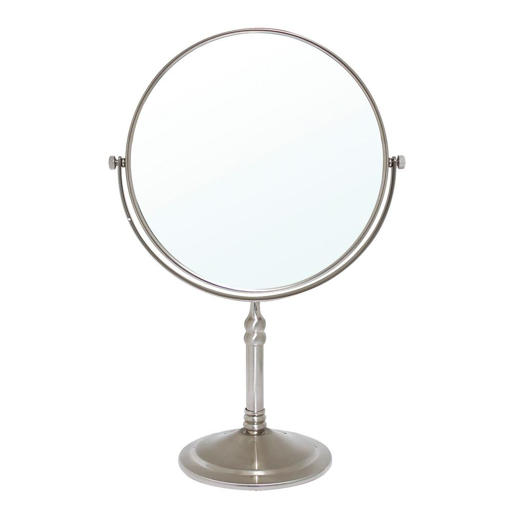 MODONA 8 in. 2-Sided 1X and 5X Brass 14 in. Counter Top Magnifying Makeup Mirror in Satin Nickel