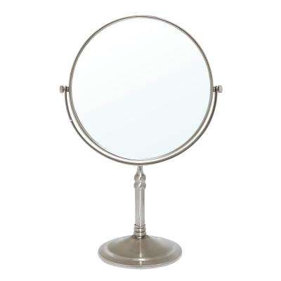 8 in. 2-Sided 1X and 5X Brass 14 in. Counter Top Magnifying Makeup Mirror in Satin Nickel